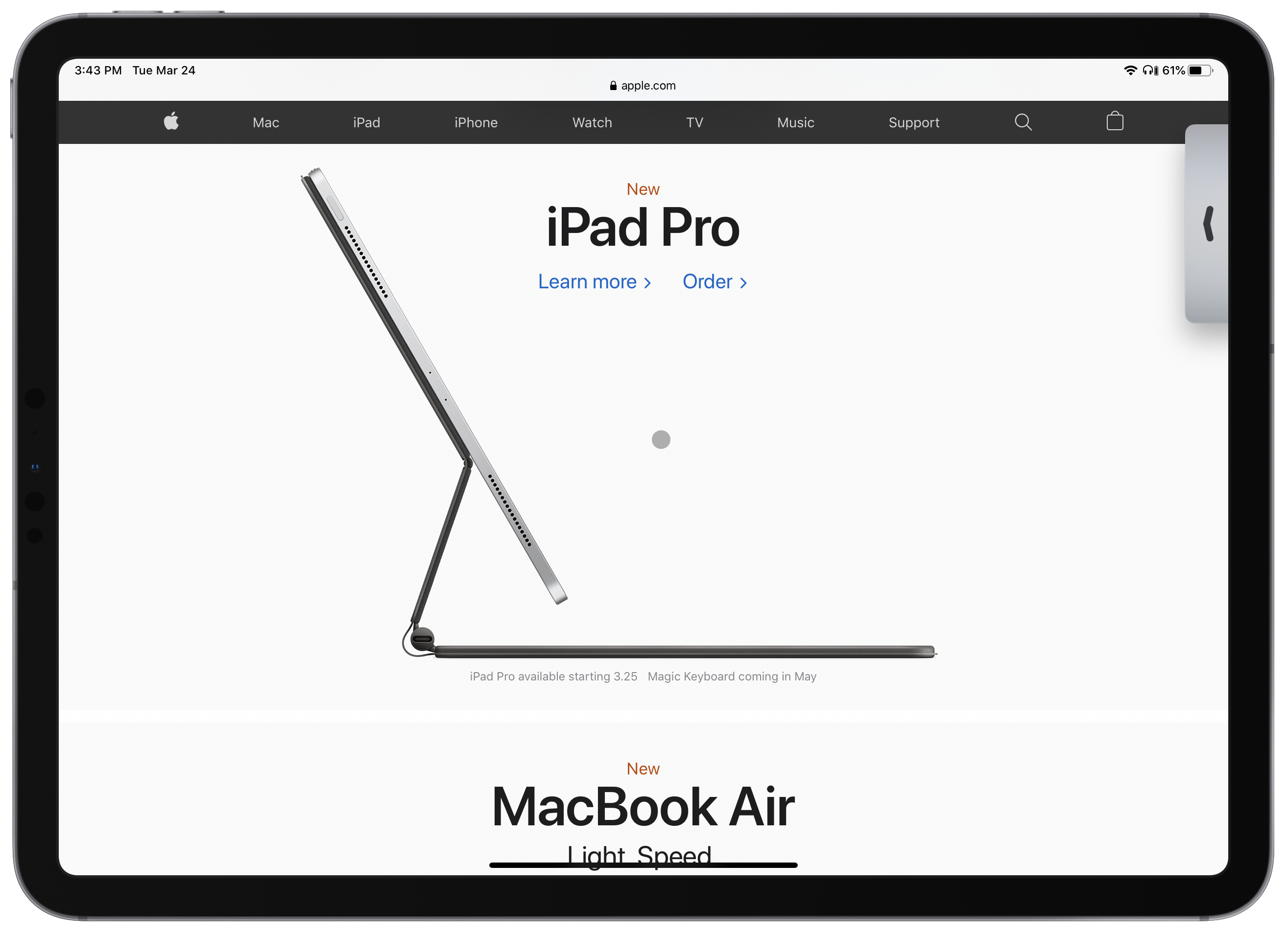 Apple's iPad webpage, featuring the iPadOS pointer in the centre