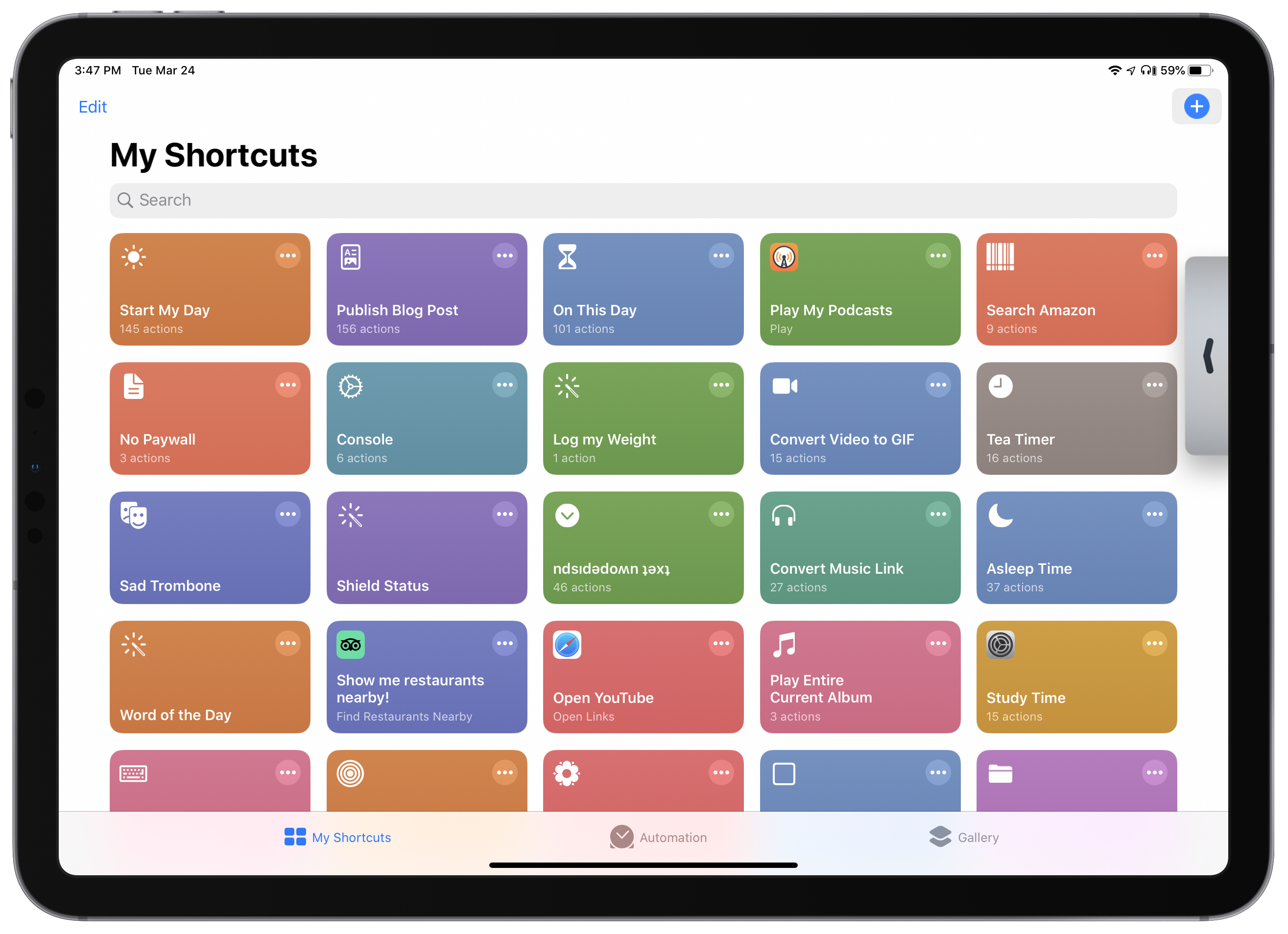 Shortcuts for iPadOS, with the pointer hovering over the shortcut creation button